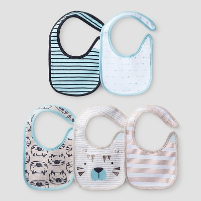 Baby Boys' 5 Pack Bib Set Baby Cat & Jack™ - Turquoise/White