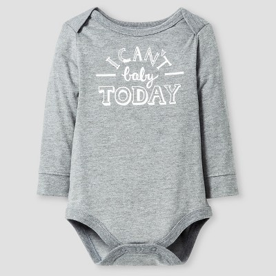 Baby Long-Sleeve I Can't Baby Today Bodysuit Baby Cat & Jack™ - Grey 6-9M