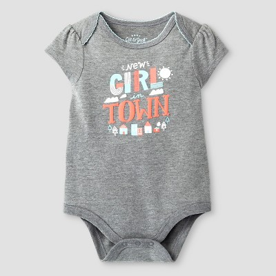 Baby Girls' Short-Sleeve New Girls in Town Bodysuit Baby Cat & Jack™ - Grey 0-3M
