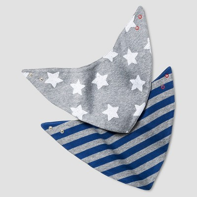 Baby Boys' 2 Pack Bandana Bibs Baby Cat & Jack™ - Navy/Heather Grey