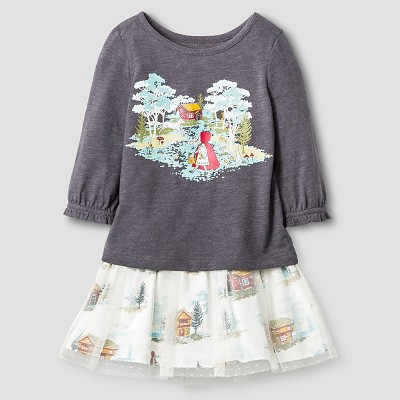Baby Girls' Graphic Tee ( Toile Skirt ) Top & Legging Gray/Cabin Print - 12M - Genuine Kids from Oshkosh™