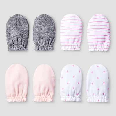 Baby Girls' 4 Pack Mitten Set Baby Cat & Jack™ - Pink/Heather Grey