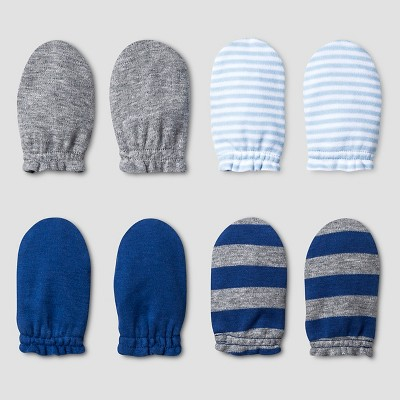Baby Boys' 4 Pack Mitten Set Baby Cat & Jack™ - Navy/Heather Grey