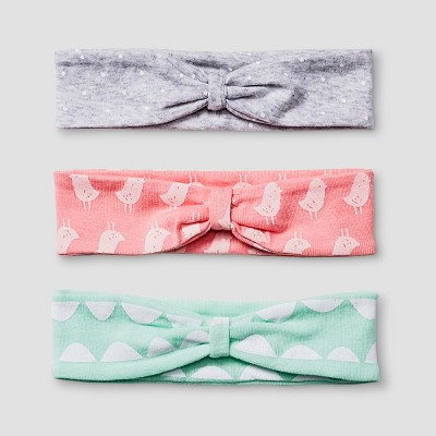Baby Girls' 3 Pack Headband Set Baby Cat & Jack™ - Coral/Aquamint