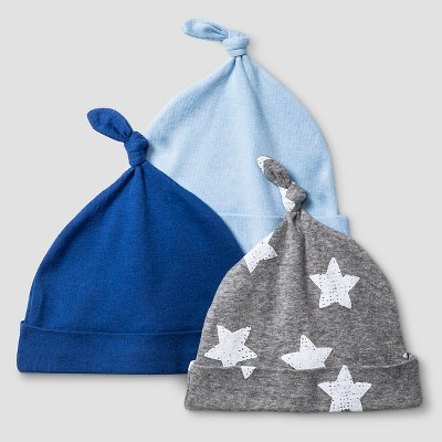 Baby Boys' 3 Pack Hat Set Baby Cat & Jack™ - Navy/Heather Grey