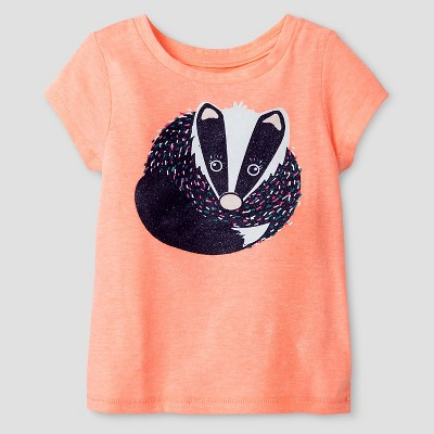 Baby Girls' Badger Short Sleeve Graphic T-Shirt Peach 12M - Cat and Jack™