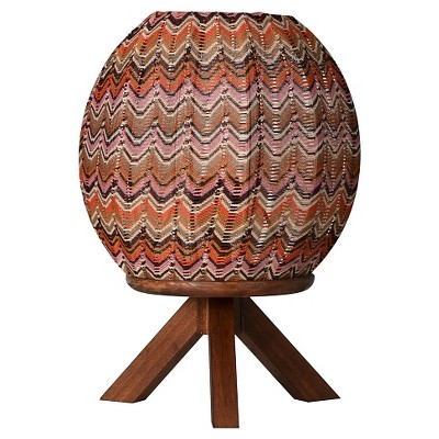 "Tripod Wood Uplight Lamp - Medium Tone Wood/Multicolor (9.25x9.25x13"") Boho Boutique"