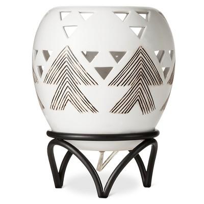 "Ceramic Embossed Graphic Table Lamp with Metal Leg - Cream/Brown (8x10.5"") Mudhut™"