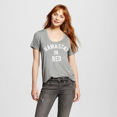 Women's Nama-Stay In Bed' Graphic Tee Heather Grey L - Fifth Sun