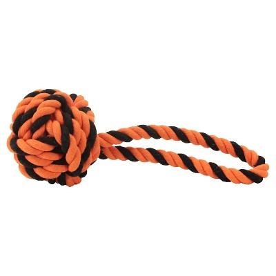 Rope Ball Tug Dog Toy - Orange and Black (Large)