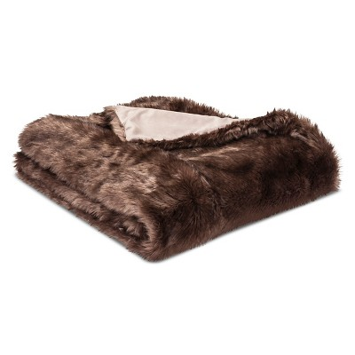 Throw Blanket Faux Fur - Threshold