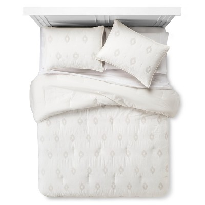 Embroidered Diamond Comforter Set (Full/Queen) Almond Cream 3pc - Nate Berkus™