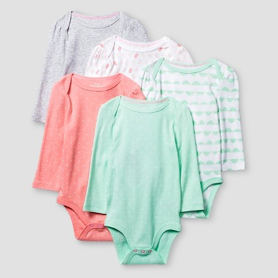 Baby Girls' Long-Sleeve 5 Pack Bodysuit Baby Cat & Jack™ - Coral/Aquamint 0-3M