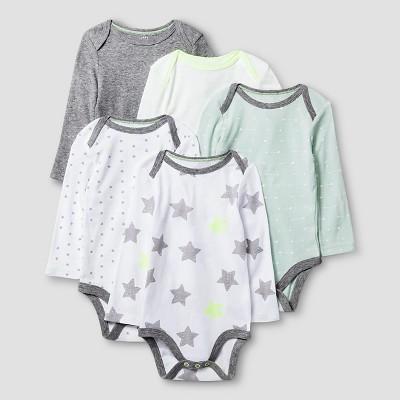 Baby Long-Sleeve 5 Pack Bodysuit Baby Cat & Jack™ - Heather Grey/White 3-6M