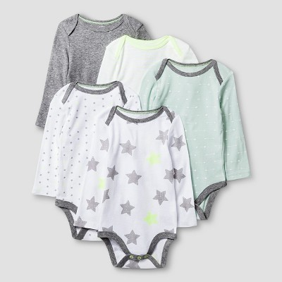 Baby Long-Sleeve 5 Pack Bodysuit Baby Cat & Jack™ - Heather Grey/White 6-9M