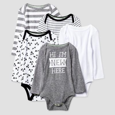 Baby Long-Sleeve 5 Pack Bodysuit Baby Cat & Jack™ - Heather Grey/Ebony 12M