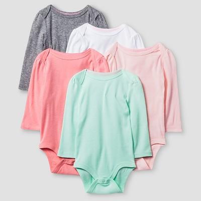 Baby Girls' Long-Sleeve 5 Pack Bodysuit Baby Cat & Jack™ - Pink/Coral Preemie