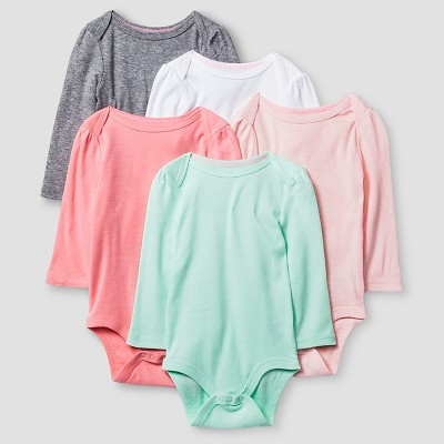 Baby Girls' Long-Sleeve 5 Pack Bodysuit Baby Cat & Jack™ - Pink/Coral 0-3M