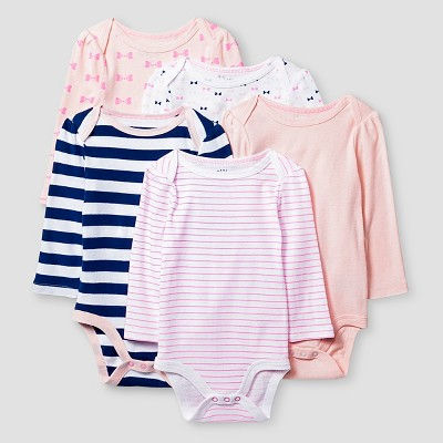 Baby Girls' Long-Sleeve 5 Pack Bodysuit Baby Cat & Jack™ - Pink/Navy 0-3M