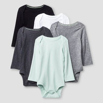 Baby Long-Sleeve 5 Pack Bodysuit Baby Cat & Jack™ - Grey/White 12M
