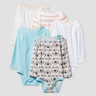 Baby Boys' Long-Sleeve 5 Pack Bodysuit Baby Cat & Jack™ - Turquoise/White/Grey/Orange 6-9M