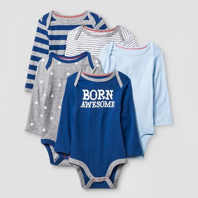 Baby Boys' Long-Sleeve 5 Pack Bodysuit Baby Cat & Jack™ - Navy/Heather Grey NB
