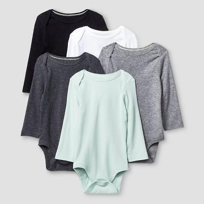 Baby Long-Sleeve 5 Pack Bodysuit Baby Cat & Jack™ - Grey/White 3-6M