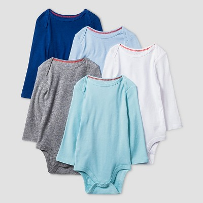 Baby Boys' Long-Sleeve 5 Pack Bodysuit Baby Cat & Jack™ - Navy/Blue/Grey 6-9M
