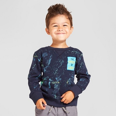Toddler Boys' Galaxy Crew Sweatshirt Cat & Jack™ - Blue 2T