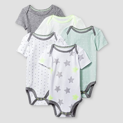 Baby Short-Sleeve 5 Pack Bodysuit Baby Cat & Jack™ - Heather Grey/White NB
