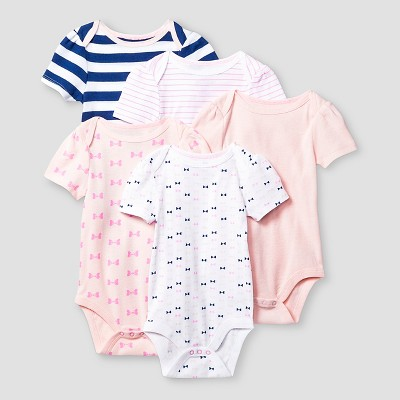 Baby Girls' Short-Sleeve 5 Pack Bodysuit Baby Cat & Jack™ - Pink/Navy NB