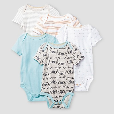 Baby Boys' Short-Sleeve 5 Pack Bodysuit Baby Cat & Jack™ - Turquoise/White/Grey/Orange 0-3M
