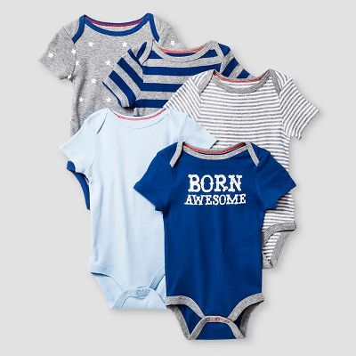 Baby Boys' Short-Sleeve 5 Pack Bodysuit Baby Cat & Jack™ - Navy/Heather Grey 6-9M