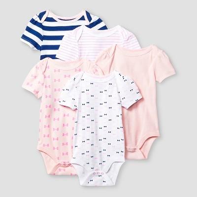 Baby Girls' Short-Sleeve 5 Pack Bodysuit Baby Cat & Jack™ - Pink/Navy 6-9M