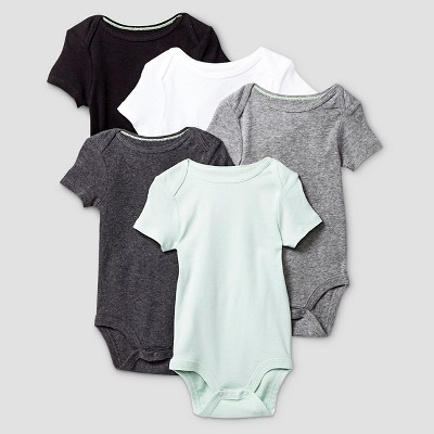 Baby Short-Sleeve 5 Pack Bodysuit Baby Cat & Jack™ - Grey/White NB