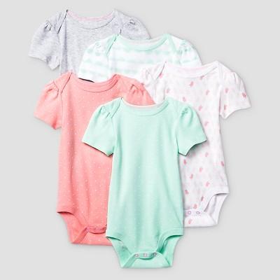 Baby Girls' Short-Sleeve 5 Pack Bodysuit Baby Cat & Jack™ - Coral/Aquamint NB