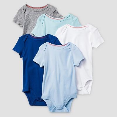 Baby Boys' Short-Sleeve 5 Pack Bodysuit Baby Cat & Jack™ - Navy/Blue/Grey 0-3M
