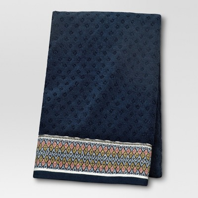Foulard Border Bath Towel - Navy - Threshold™