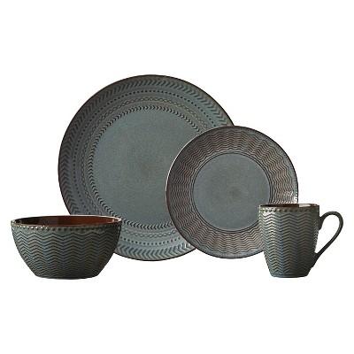 Pfaltzgraff 16pc Dinnerware Set Glazed Pattern Grey