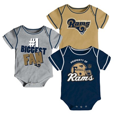 LA Rams Boys 3pk Newborn/Infant Bodysuit 3-6M