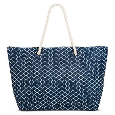 Women's Medallion Print Tote Handbag - Blue/White
