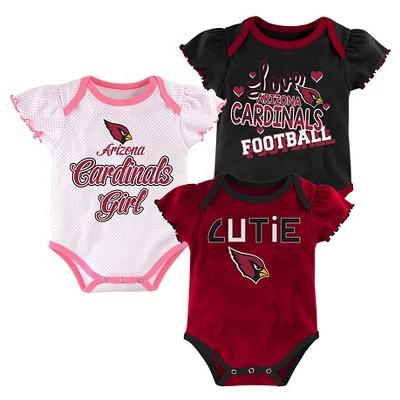 Arizona Cardinals Girls 3pk Newborn/Infant Bodysuit 3-6M