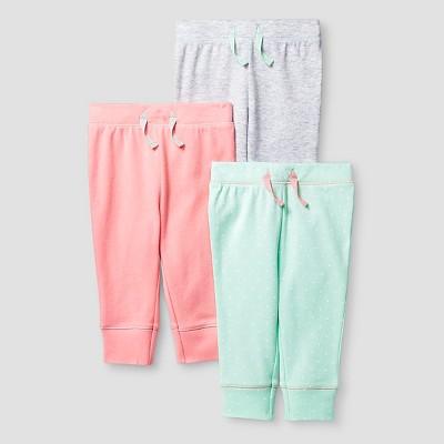 Baby Girls' 3 Pack Pants Baby Cat & Jack™ - Coral/Aquamint Preemie