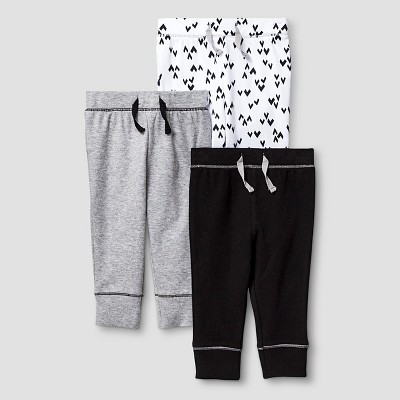 Baby 3 Pack Pants Baby Cat & Jack™ - Heather Grey/Ebony NB