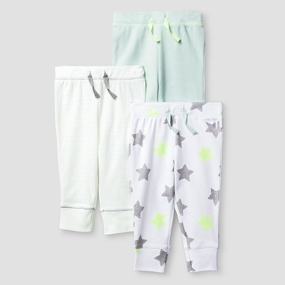 Baby 3 Pack Pants Baby Cat & Jack™ - Mint/White Preemie