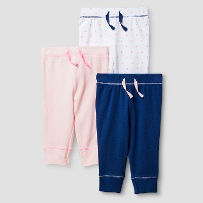 Baby Girls' 3 Pack Pants Baby Cat & Jack™ - Pink/Navy 12M