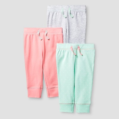 Baby Girls' 3 Pack Pants Baby Cat & Jack™ - Coral/Aquamint 6-9M