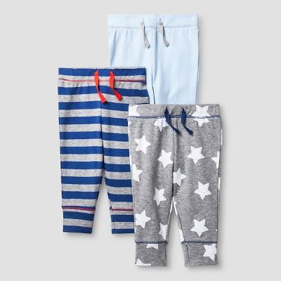 Baby Boys' 3 Pack Pants Baby Cat & Jack™ - Navy/Heather Grey 6-9M