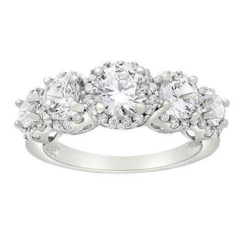 tiara 10k white gold 5 cut halo cz ring target