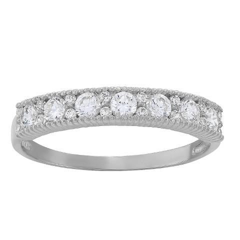 tiara 10k white gold pattern cz band ring target